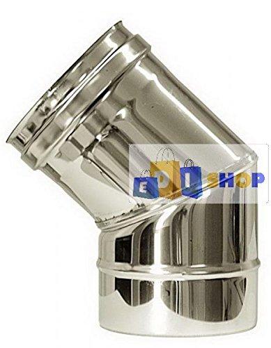 CHEMINEE PAROI SIMPLE TUYAU TUBE INOXIDABLE AISI 316 - dn 150 curva 45° canna fumaria tubo acciaio inox 316 parete semplice