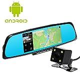 """Toguard Specchietto retrovisore smart 7"""" con telecamera Android 4.4 RAM 1GB ROM 16GB 1080P Full HD, WiFi, GPS, Dual lens, Touch Screen e mappe gratuite"""