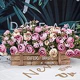 Jnseaol Künstliche Blumen Aus Seide Plastik Seidenblume Blumenschmuck Holz Topf Braut Hochzeitsblumenstrauß Für Haus Garten Party Geschenk Zum Valentinstag Geburtstag Lila Rose