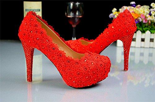 JINGXINSTORE Laccio rosso floreale sfera di nozze Club cassone nuziale Tacchi Alti Party 12CM/4.7INCH