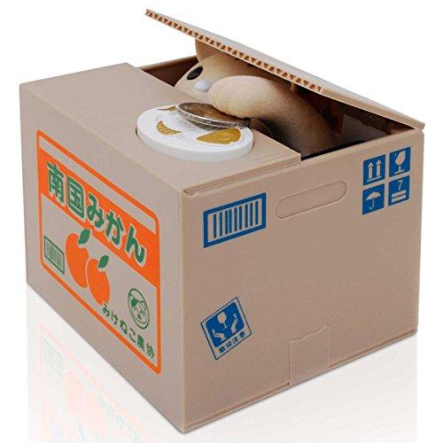 Goods & Gadgets Katze in der Kiste Münzen Euro Spardose elektronische Pfötchen Itazura Sparbüchse Sparschwein