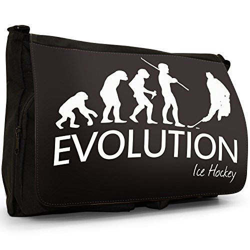 Fancy A Bag Borsa Messenger nero Evolution Of A Skier large Evolution of Ice Hockey Player