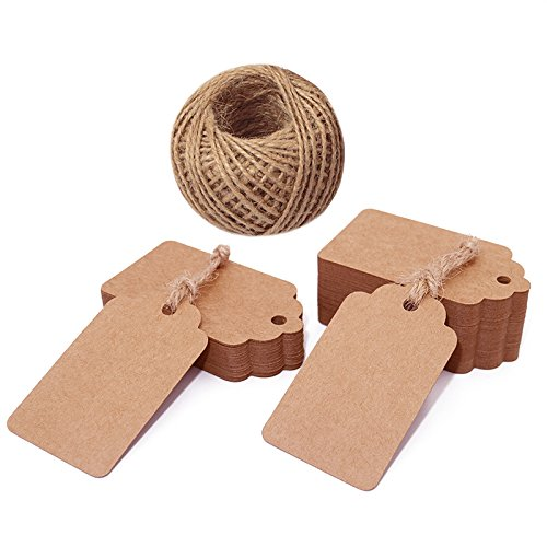 100 etiquetas de regalo, etiquetas de papel kraft, etiquetas para colgar con cordel de yute, 30 metros de largo, color marrón 7*4 CM
