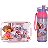 Jewel Smart Lock Character Lunch Box (Medium) + Cool Splash Insulated Water Bottle (750ml) - (Dora)