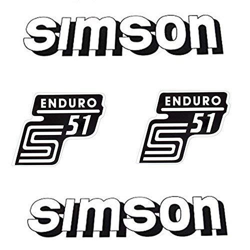 Set Aufkleber Sticker 4-teilig für Simson S51 Enduro weiss