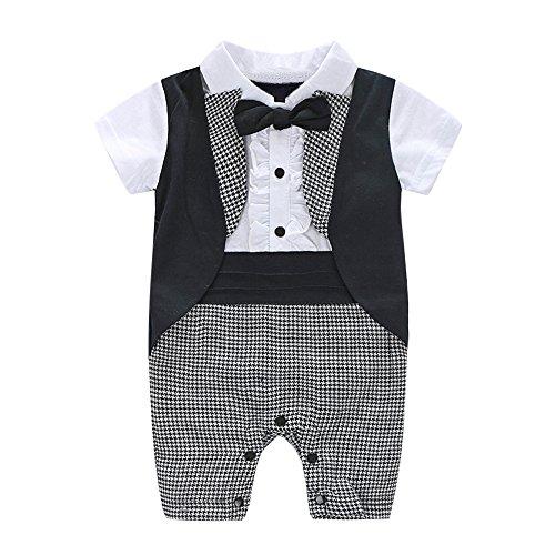 kleidung Neugeborene Set, Jungen Kleidung Set Shirt + Weste + Hose Baby Fliege Braun Anzug für Baby Geburtstagsparty Kleid ()