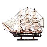 SAFETYON Holzschiff Modelle, Holz Segelboot Holzmodell, Black Pearl Ship Startseite Modell Dekoration Boot Geschenk, Holzmodell Kit Spielzeug (65X10X45cm)