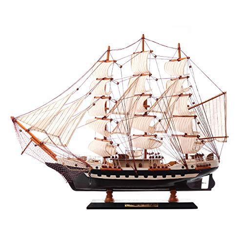 SAFETYON Holzschiff Modelle, Holz Segelboot Holzmodell, Black Pearl Ship Startseite Modell Dekoration Boot Geschenk, Holzmodell Kit Spielzeug (65X10X45cm) (Holz-boote-modelle)