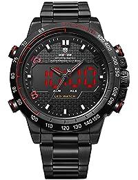 Alienwork Reloj LED Analógico-Digital sport relojes hombre Multi-función XXL Oversized Metal rojo negro WD.WH-6102-B-5