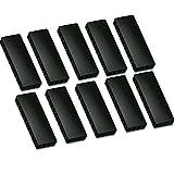 10x Faxland Magnete rechteckig, Schwarz 54x19 mm, Haftmagnete für Whiteboard, Kühlschrankmagnet, Magnettafel, Magnetwand, Magnet