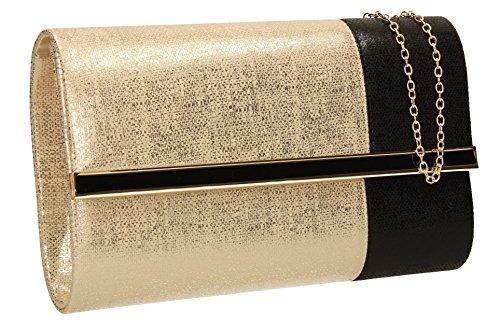 Color Block Oslo Shimmer Syn Flapover in pelle da sera, da donna, ideale per matrimoni, feste, SWANKYSWANS frizione, Oro (oro), Taglia unica