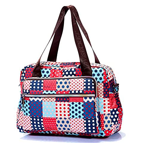 Femmes Léger Floral Croix Corps Sac fourre-tout Sac à main avec bandoulière amovible imperméable Mère cadeau de Saint-Valentin - Multicolore - Blue & Red Polka dots,