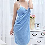 DDU Handtuch Dame Girl Portable Fast Drying Magic Beach Spa Bademäntel Bad Tragbar Badetuch Rock Halter Blau