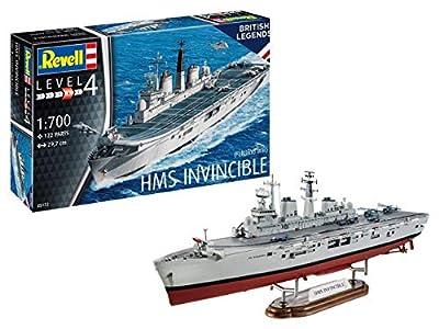 Revell Bateau de Guerre des Folkland HMS Invincible-échelle 1/700-niveau 4/5 Maquette, 05172, Unlackiert