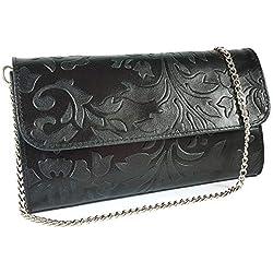 Freyday Echtleder Damen Clutch Tasche Abendtasche Muster Metallic 25x15cm (Schwarz Blumen)