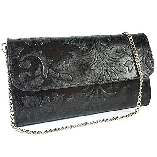 Freyday Echtleder Damen Clutch Tasche Abendtasche Muster Metallic 25x15cm (Schwarz Blumen) -