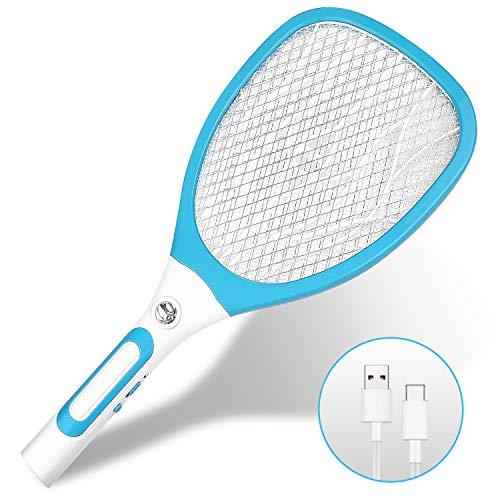 Nasharia Elektrische Fliegenklatsche Fliegenfänger Moskito Zapper, Insekten Mörder mit LED-Beleuchtung und USB Wiederaufladbar Doppelte Schichten Mesh Schutz (Blau)