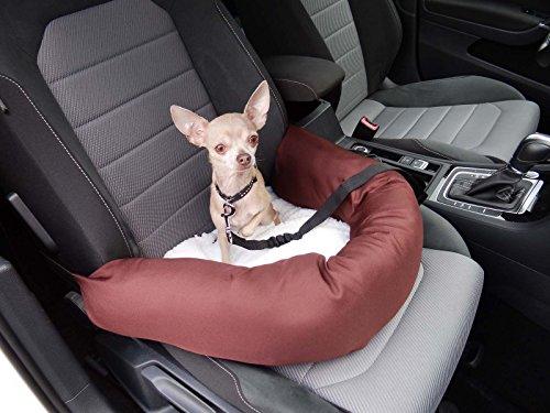Knuffliger Autositz für Hund, Katze oder Haustier inkl. Flexgurt empfohlen für Nissan Elgrand