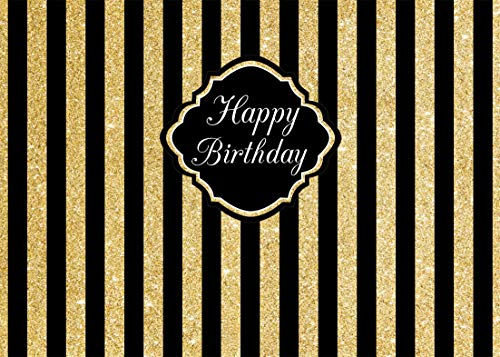 AIIKES 7x5FT/2,1Mx1,5M Geburtstag Fotografie Kulissen Gold und Schwarze Streifen Golden Sparkle Happy Birthday Hochzeit Fotografie Hintergrund Baby Shower Dekoration 11-072