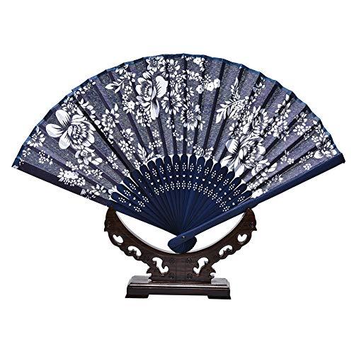 Ruluti 1PC Folding Fan Blumen Batik-Raum-Dekoration Im Chinesischen Stil Hand Halten Hochzeit Klassische Craft Orchideen-Blumen-Drucke Vintage Tuch Fan -