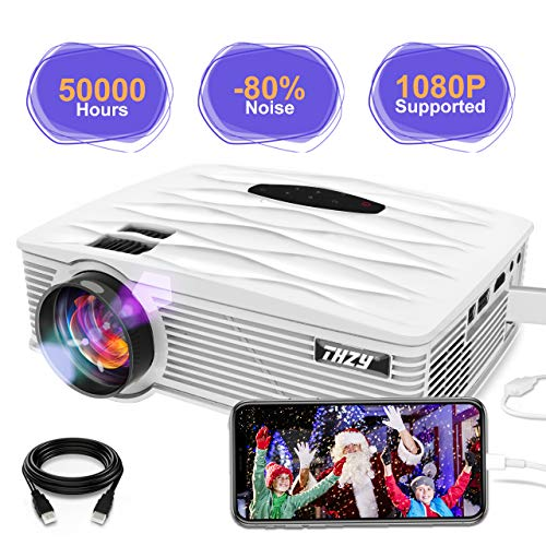 THZY Proyector Mini Vídeo Portatil Proyector HD LED 2200 Lúmenes,50000H soporta 1080p HDMI,VGA,USBx2, SD,AV e interfaz de auriculares,Compatible con TV Smartphones iPhone iPad