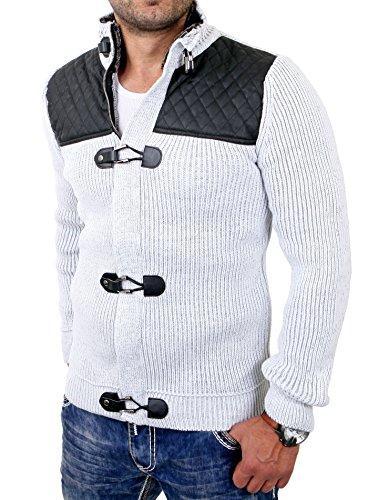 Reslad Herren Strickjacke Grobstrick Jacke mit PU-Leder Patched RS-16058 Grau