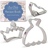 Princess Cookie Cutter Set-3piezas-Corona/Tiara, Zapato de cristal vestido de & Ann Clark-nosotros lata chapado en acero