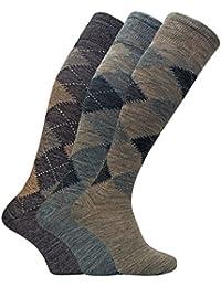 3 paires homme chaussettes tres longues genoux hautes en laine dans marron et grise