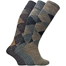 Sock Snob 3 pares hombre altos/largos termicos invierno finos calcetines lana con rombos