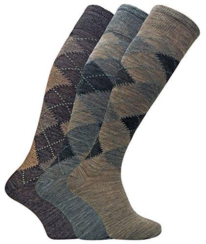 3er pack herren argyle muster extra lang wolle kniestrümpfe / wollsocken im braun und grau (39-45 eur, ELLW Brown) (Braune Kniestrümpfe)