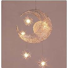 YUHONG@Iluminación para habitaciones infantiles Modern Fashion Moon & Star Lámparas colgantes Dormitorio para niños Lámparas Aluminio Chander para sala de estar Decoración para el hogar