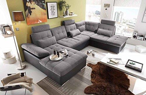 lifestyle4living Ecksofa, Sofaecke, Wohnlandschaft, Couch, U-Form, Couchgarnitur, Polsterecke, Sofacouch, Polstergarnitur, anthrazit, schwarz, Webstoff, Kunstleder