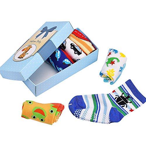 Calzini-per-Bambini-Calzini-Antiscivolo-Contton-Blended-Strentchable-6-confezione-boxedset-per-12-36-mesi-Baby-ragazze-e-ragazzi-di-Baby
