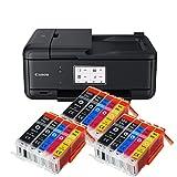 Canon Pixma TR8550 TR-8550 Farbtintenstrahl-Multifunktionsgerät (Drucker, Scanner, Kopierer, Fax, USB, WLAN, LAN, Apple AirPrint) Schwarz + 15er Set IC-Office XXL Tintenpatronen 580XXL 581XXL