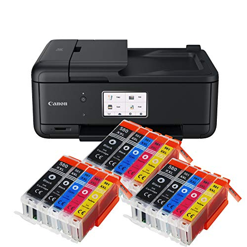 Canon Pixma TR8550 TR-8550 Farbtintenstrahl-Multifunktionsgerät (Drucker, Scanner, Kopierer, Fax, USB, WLAN, LAN, Apple AirPrint) Schwarz + 15er Set IC-Office XXL Tintenpatronen 580XXL 581XXL