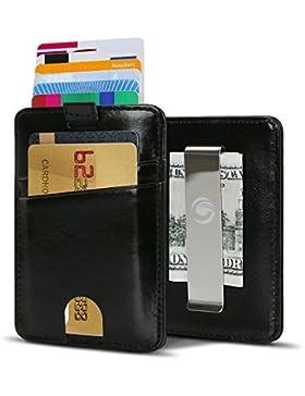 Súper Delgada Monedero Mini Tarjetero RFID de Piel Calidad Vacuno, Tarjetas de Visita Tarjeta de Crédito, Alojar...