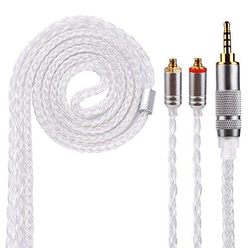 16 Kern MMCX Ersatzkabel Yinyoo Ersatz Kopfhörer abnehmbare Kabel verbesserte Silber vergoldet Kupfer MMCX Kabel 2,5 mm Stecker für Shure 846 535 215 315 425 MAGAOSI K5 LZA4 A5 Kopfhörer (MMCX 2,5)