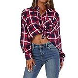Mode Frauen Langarm Plaid Print Button Verknoten T-Shirt Bluse Top, Malloom Hemd Oben geknotet Rot, Größe S