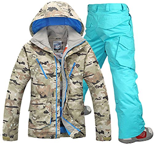 Herren Skianzüge Winter Kälteschutz Warmhalten Bergsteigeranzug Furnier Doppeldecker Ski Jacket Hose, M, Camouflage + Sky Blue