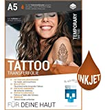 SKULLPAPER Tattoo-Transferfolie FÜR DIE HAUT - DIN A5 zum aufkleben und selbst gestalten - 6 Blatt für Inkjet Tintenstrahldrucker