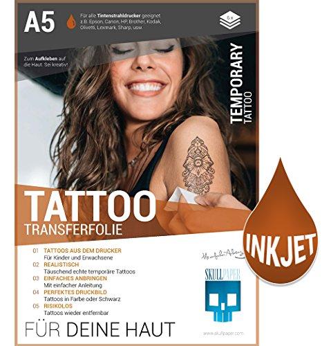 Preisvergleich Produktbild SKULLPAPER temporäre A5 Tattoo-Transferfolie FÜR DIE HAUT dermatologisch SEHR GUT getestet hautverträglich individuell zuschneidbar (A5-6 Blatt)