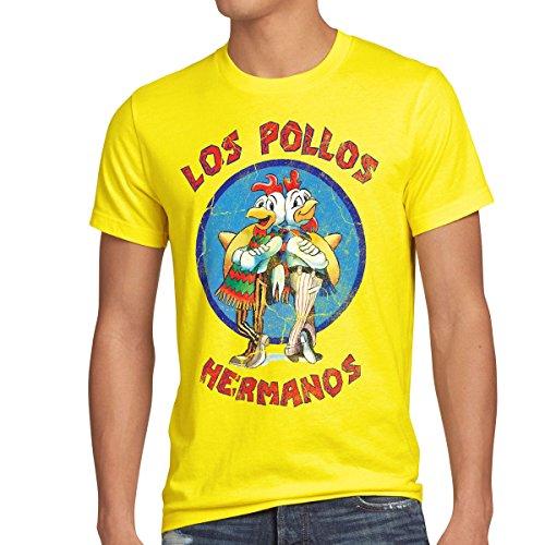 style3 Los Pollos T-Shirt Herren, Größe:L, Farbe:Gelb