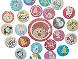 Adventskalenderzahlen Buttons Zahl für Adventskalender 24 Set Anstecker Pin 25mm Elch Weihnachtsmann Eule
