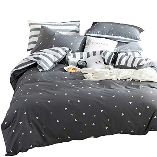 Luofanfei King Size Bettdecke 220 x 240 cm Grau Dreiecke 3 Teilig Geometrisch Graphit Bettbezug Baumwolle Weiß Gestreift Muster Vintage Design