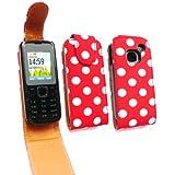 Emartbuy ® Nokia C1-01 Premium-PU-Leder Flip Case / Cover / Tasche Polka Dots rot / weiß und LCD Displayschutz