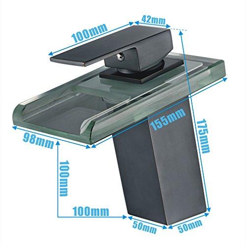 AURALUM Zeitgenössig Schwarz LED RGB Glas Mischbatterie Wasserfall Wasserhahn Armatur für Badewanne & Waschbecken -