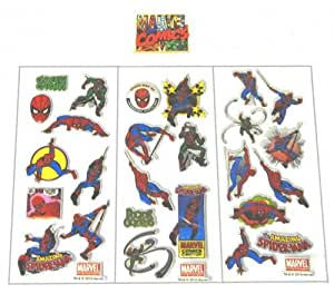 """Planches de stickers autocollant """"Spiderman"""" relief, paillettes et mousse"""
