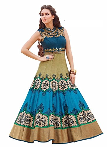 Beautiful Royal Peacock Blue & Chiku Partywear Gown