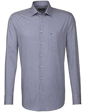 Seidensticker Herren Langarm Hemd Splendesto Regular Fit blau / weiß kariert 188380.15