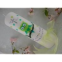 Taufkerze Eule grün Taufkerzen Tiere Junge Mädchen 250/70 mm mit Namenskette